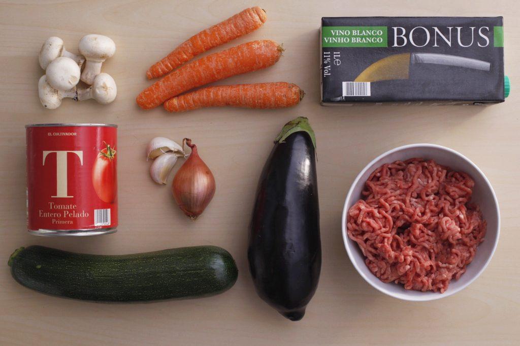 Ingredientes para las berenjenas rellenas