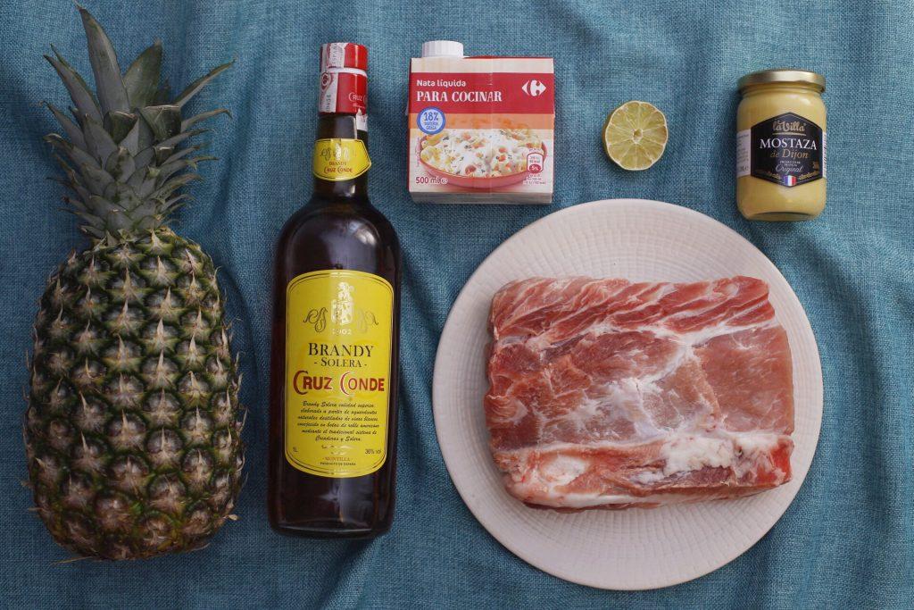 Ingredientes para el lomo de cerdo a la piña