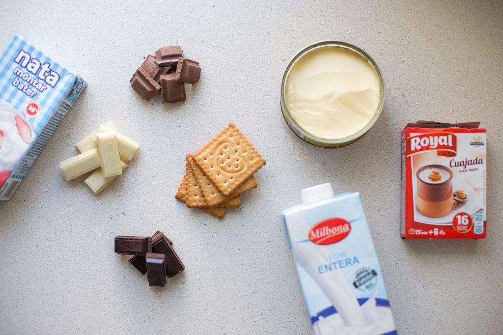 ingredientes tarta de tres chocolates