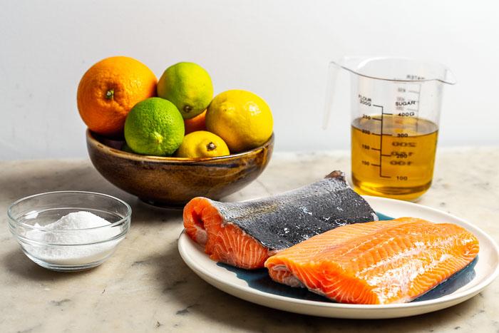 Ingredientes para el salmón de Thomas Keller